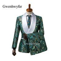 ropa formal para la boda de los hombres al por mayor-2018 hot New Elegant Brand Shawl Lapel Wedding Mens Suit Flower Trajes de boda de doble botonadura para hombres Slim Fit Formal Groom Wear Tuxedos Bl
