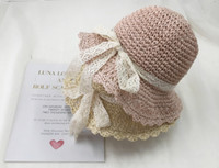 bebek kızları için hasır şapkalar toptan satış-Küçük çocuklar dantel bow şapka kız hasır şapka yaz ince hava gölgeleme kap bebek kız prenses taze güneş koruyucu plaj