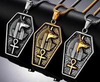 ingrosso ciondoli egiziani antichi-Retro argento antico nero oro Uomo acciaio inossidabile antico faraone egiziano copto ankh croce collana pendente religioso