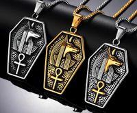 pharao halsketten großhandel-Retro Silber Antik Schwarz Gold Männer Edelstahl antiken ägyptischen Pharao koptischen Ankh Kreuz religiöse Anhänger Halskette