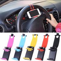 Wholesale universal phone bike mount - Universal Car Phone Holder Car Streeling Steering Wheel Cradle Holder SMART Clip Car Bike Mount for Mobile iphone Cell Phone 50pcs GGA65