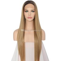 Wholesale straight dark root hair online - High Temperature Fiber Hair Middle Part Long Straight Tones Dark Roots Ombre Blonde B Synthetic Lace Front Wig for Black Women