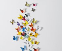 Wholesale 3d art stickers for sale - 3D Butterfly wall stickers DIY butterflies decors For Home Fridage Decoration art diy decoration sticker baby toys styles