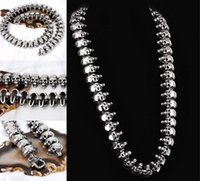 Wholesale mens gothic chain for sale - Group buy Mens Skull Necklace L Stainless Steel Punk Gothic Style Silver High Polished Classic Necklaces Jewelry Neck Accessories Free DHL G833R