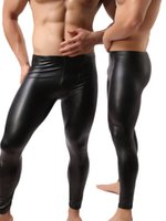 Wholesale long faux leather pants - Fashion Mens Black Faux Leather Pants Long Trousers Sexy And Novelty Skinny Muscle Tights Mens Leggings Slim Fit Tight Men Pant M-2XL