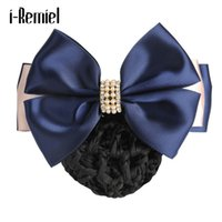 Wholesale red accesories - i-Remiel Hairgrips Floral Lace Satin Hair Cover Stylish Bun Net Snood Bow Crochet Accesories Hair Clips Hair Headdress Women