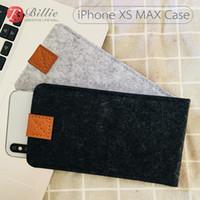 capa de lã do iphone venda por atacado-Saco do telefone de feltro de lã bolsa caso bolsa para iphone xs casos tampa do telefone móvel sacos artesanais para iphone xs max 6.5 polegadas cinza