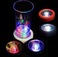 Wholesale Light For Drinking Bar - LED Light Bottle Cup Mat for Party Bar Drink Glass Bottle Coaster Color Changing Decor Gift EEA354 60PCS