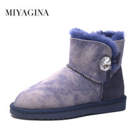 Wholesale Sewing Buttons Purple - Hot Sale High Quality Women 100% Genuine sheepskin Snow Boots Natural Fur Women boots Warm Winter Ankle Shoes