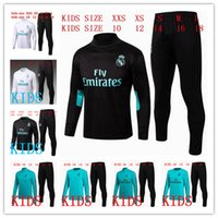 Wholesale White Collar Boy - kids Real Madrid TRACKSUIT soccer chandal BLACK football tracksuit 2017-2018 training suit pants High collar Sportswear
