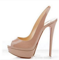 Wholesale burgundy patent leather platform heels - bona fide 2018 Nude Patent Leather Woman High Heels Pumps 14CM Peep-toe Banquet Stiletto Heel Slip-On Platform Heel Shoes
