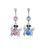 Wholesale clear spider for sale - Group buy D0289 colors clear color Nice belly ring nice spider style belly ring with piercing body jewlery navel belly ring body jewelry