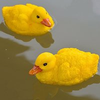 Wholesale Plastic Garden Ornaments - 2 Pcs Artificial Floating Resin Yellow Ducks For Pool Lawn Home Garden Decoration Simulated Ornament