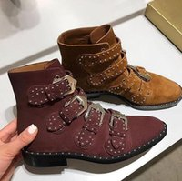Wholesale Vintage Western Boots Women - Women Fashion Genuine Leather Tactical Ankle Boots Western Vintage Rivets Studded Light Green Motorcycle Punk Shoes Woman