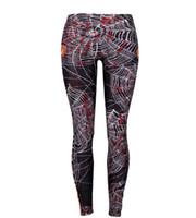 belle kostüm kadınlar toptan satış-Örümcek Ağı Cadılar Bayramı 3D Dijital Baskı Kadınlar Yüksek Bel Tayt Kostüm Atletik Tam Boy Pantolon Dış Giyim Sıkı Tayt Giyim