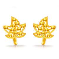 or 3g achat en gros de-Nouvelle Arrivée Pure 999 24K Or Jaune Femmes Lucky Leaf Boucles D'oreilles 2.5-3g
