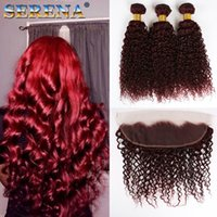Wholesale 99j curly weave for sale - 4Pcs J Deep Curly Hair Weft Burgundy Human Hair Bundles With x4 Ear to Ear Frontal Closure Deep Wave Wine Red Peruvian Hair Weaves