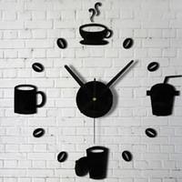 ingrosso disegni di caffè della parete della cucina-Adesivi di moda orologi al quarzo Tazze di caffè Kitchen Wall Art Mirror Clock Design moderno Home Decor Wall Stickers spedizione gratuita