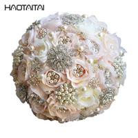 ingrosso bouquet unico-Bridal Bouquet 2018 Perle di lusso Spilla Matrimoni unici Sposa che tiene fiori Matrimonio splendente perline scintillanti