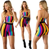 Wholesale yoga pants europe resale online - New Sexy Women Tracksuit Fashion Europe Style Seven Color Printed Stripe Vest With Short Pants