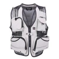 Wholesale photographer multi pocket vest resale online - Cotton Mesh Vests With Multi pocket Photographer Vest Causal Style Vest Regular Solid Men vest Two Colors Plus Large XL High Quality