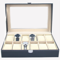 Wholesale organizer boxes - Faux Leather Watch Box Display Case Organizer 12 Slots Jewelry Storage Box