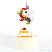 Wholesale topper cakes for sale - Group buy Cake Cupcake Topper Toothpick Unicorn Shape Happy Birthday Illustration Children Party Ornament Supplies New Unique Memory yn ii