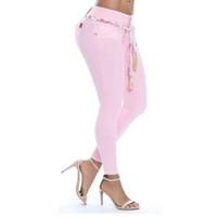 elastische taillen damen hose großhandel-2018 herbst neue mode frauen plus größe elastische dünne jeans frauen lange denim bleistift hose hose hohe taille damen hose neu