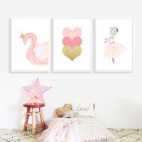 ingrosso arte della parete delle neonate-Stile nordico Decorazione per bambini Balletto Poster Pink Swan Wall Art Canvas Painting Poster And Prints Baby Room Room Decor Unframed