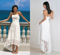 Wholesale strapless lace beach wedding dresses for sale - Group buy Lace Summer Beach Wedding Dresses Sweetheart High Low Simple Cheap Bohemia Plus Size Wedding Bridal Gowns BA9533