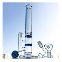 Wholesale Classic Oil - Double Honeycomb Perc Glass Bongs Ice Pinch Water Pipes Straight Tube Bong Classic Oil Dab Rigs 29cm Stand Waterpipe Rig 100x