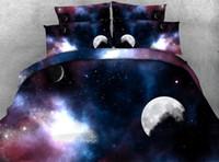 conjuntos de cama roxa em tamanho completo venda por atacado-JF-019 azul escuro galaxy roxo conjunto de cama crianças crianças único full size lençóis 3d roupa de cama euro duplo 4 pcs capa de edredão