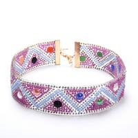 afrikanischer goldkragenchoker großhandel-Ethnische Perlen Bib Kragen Hals afrikanische Multicolors Perlen Choker Halskette Anweisung Maxi Schmuck Tribal Halloween Geschenk