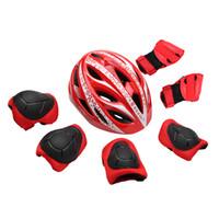 boyutlu bisiklet kaskı toptan satış-7 adet / takım Çocuklar Bisiklet Paten Kask Ultralight çocuk Bisiklet Kask Bisiklet Çocuk Boyutu 47-52 cm + 6 Koruyucu Dişli