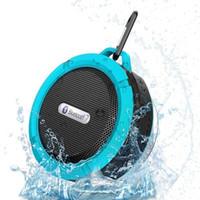 altavoz impermeable de gancho al por mayor-C6 Altavoz Bluetooth Altavoz Inalámbrico Reproductor de audio inalámbrico Potente Gancho impermeable Ventosa Reproductor de música estéreo con paquete al por menor
