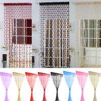 katı siyah şapka toptan satış-Mutfak Katı Romantik Aşk Desen Hattı Dize Perde Pencere Kapı Sırf Perde Oturma Odası Ev Dekorasyon Için 100 CM * 200 CM