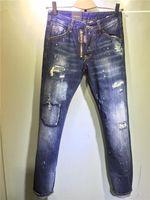 Wholesale White Skinny Jeans Long - 2017 New arrival famous luxury italian Brand d2factory slim fit summer fashion patchwork denim ripped zipper biker skinny jeans hole for men