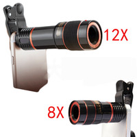 Wholesale Mobile Phone Telescope Camera - eClouds Universal Mobile Phone Lens 12X 8X Zoom Telescope Camera Telephoto Lenses For iPhone 6s 7 Plus Samsung Galaxy S6 S7 S8