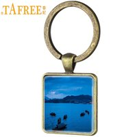 keychain picture NZ - TAFREE Thousand Islet Lake Night View Picture Keychain Antique Bronze Keyring Glass Dome Square Pendant Jewelry QD11