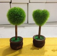 Wholesale love pots online - Love Heart Tree Ball Seat Clip Wedding Modelling Happy Clips Ceremony Supplies Simulation Green Round Potted Place Card dl gg