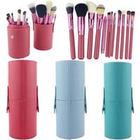 porte-gobelet brosse de maquillage 12 achat en gros de-Nouveau solide couleurs 12 pcs brosses brosse de maquillage portative ronde porte-stylo outil cosmétique pu tasse en cuir conteneur