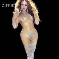 trajes de cantantes al por mayor-Sexy Striptease Danza Jumpsuit Sparkly Body Stage Wear Mujer Celebrate Mujer Cantante Cristales Traje de traje de una pieza