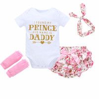 Wholesale white cotton leggings wholesale - INS Baby Girls Clothing Sets Toddler Newborn Infant Clothes Short Sleeve Romper Skirt Leggings headband Outfits