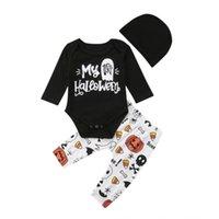 bebek halloween tozluk toptan satış-Bebek Bebek Erkek Kız Cadılar Bayramı Sevimli Uzun Kollu Romper Tulum Bodysuit + Uzun Tayt Pantolon Şapka Kıyafet Giysi Set
