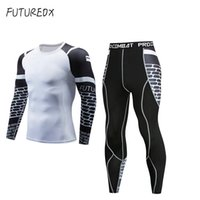 ingrosso camicie bianche-New Dry Fit Compression Tuta Fitness Tight Running Set T-shirt Legging Abbigliamento sportivo uomo Demix white Sport Suit