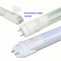 Wholesale Led Tube Sensor - Smart led tube light radar motion sensor microwave detect T8 1.2m 18w 0.6m 9w brightness lunar 2ft 4ft G13 for garage