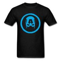 rabatt menssommerhemden großhandel-Captain America Einfache Maske Männer Slim Fit T-shirt Jungs Rabatt Korean Schwarz T-shirt Neue Kommende T-shirt Runder Kragen Tops Tees Mens Summer