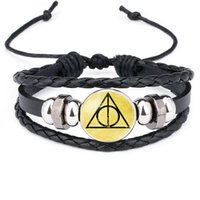 Wholesale Snitch Charms - Harry Golden Snitch Deathly Hallows 9 3 4 Howling Handmade Glass Cabochon Woven Leather Bangles Mens Black Cool Punk film Bracelet 320051