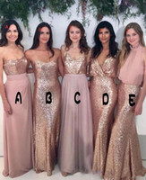 Wholesale coral chiffon fabric for sale - Group buy 2018 Bridesmaid Dresses Mix and Match Blush Pink Chiffon with Rose Gold Sequined Fabric Floor Length Mixture Styles Country Party Gowns