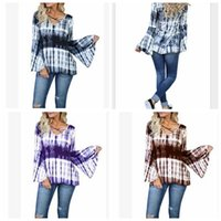 Wholesale Puff Tie - Women V-neck long sleeve Shirts Sexy Tie Dye Tops Neck Bandage Casual Sexy Women Tops Blouses LJJK911